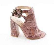 LaMara Paris Venice snakeprint peep toe heels pink