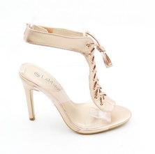 LaMara Paris Pindi vinyl heel sandals champagne gold