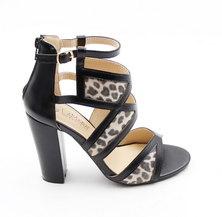 LaMara Paris Estelle leopard print sandals black