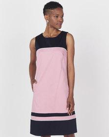 Queenspark Colourblocked Woven Dress Pink