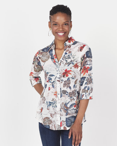 Queenspark Tropical Foliage Voile Woven Shirt Multi