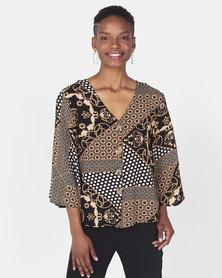 Queenspark Scarf Print Woven Shirt Brown