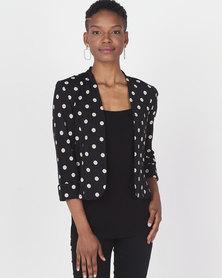 Queenspark 3D Spot Design Knit Jacket  Black