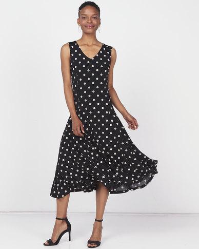 Queenspark 3D Spot Design Fit & Flare Knit Dress Black