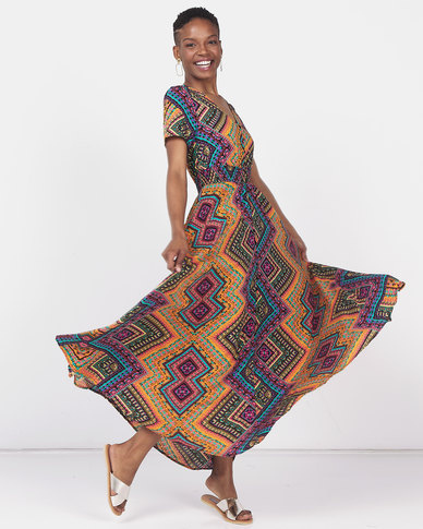 Queenspark Printed Short Sleeve Maxi Dress Multi