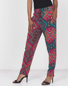 Queenspark Pep It Up Woven Trousers Red