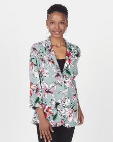 Queenspark Floral Printed 3/4 Sleeve Jacket Sage