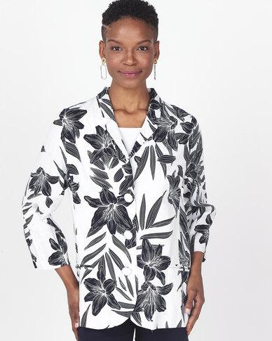 Queenspark Floral Printed 3/4 Sleeve Woven Jacket Blue