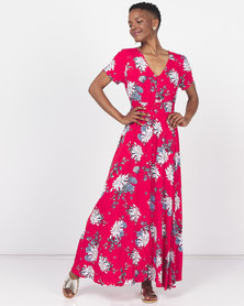 Queenspark Printed Short Sleeve Maxi Woven Dress Red