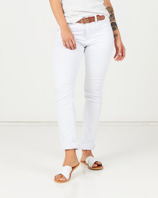 Queenspark Belted Denim Jeans White