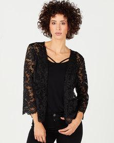 Queenspark Scalloped Stretch Lace Bolero Jacket Black