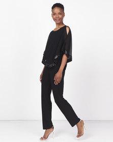 Queenspark Double Layer Knit Jumpsuit  Black