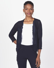 Queenspark Merrow Edge Bolero Mesh Jacket  Navy