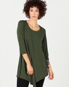 Queenspark Asymmetrical Long Sleeve Knit Top Green