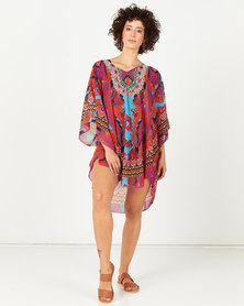 Queenspark Shell Print With Border Kaftan Multi