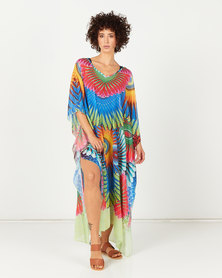 Queenspark Peacock Print Design Kaftan Multi