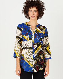 Cath Nic By Queenspark Chain Print Woven Blouse Multi