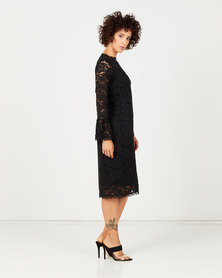 Cath Nic By Queenspark New Lace Woven Dress Black
