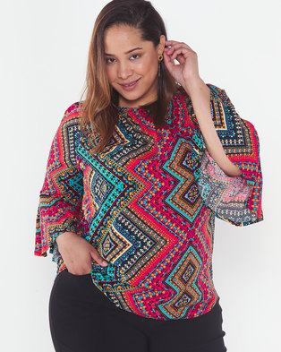 Queenspark Plus Collection New Pretty Woven Marilyn Blouse Multi