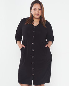 Queenspark Plus Collection Big Button Knit Dress Black
