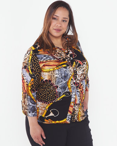 Queenspark Plus Collection Flower & Chain Viscose Printed Woven Shirt Multi