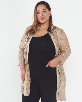 Queenspark Plus Collection Mandarin Scallop Lace Woven Jacket Gold