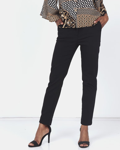 Miss Cassidy By Queenspark Plain Elasticated Woven Slacks Black