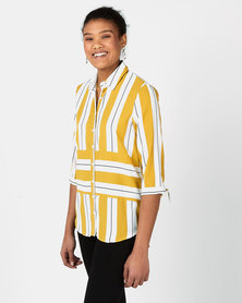 Miss Cassidy By Queenspark Striped Woven Long Length Top Yellow