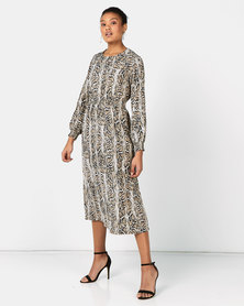 Miss Cassidy By Queenspark Animal Print Woven Dress Multi