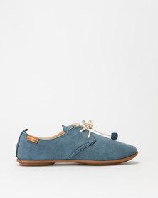 Pierre Cardin Jazzy Lace Up Flats Denim Blue