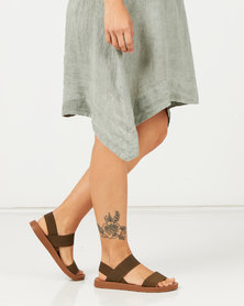 Pierre Cardin Elasticated Sandals Olive