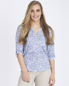 Contempo Burnout Henley With Tortoise Shell Blue