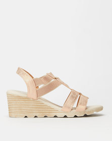 Butterfly Feet Camilla Wedges Rose Gold