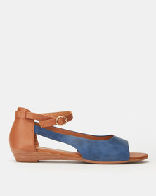 Butterfly Feet Cardi Wedges Blue
