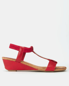 Butterfly Feet Faye Wedges Red