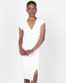Sissy Boy Girl Boss Ruched Midi Dress Off White