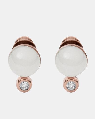Skagen Sea Glass Stud Earrings Rose Gold