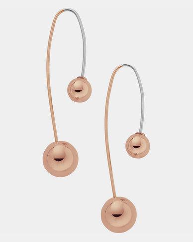 Skagen Elin Drop Earrings Rose Gold