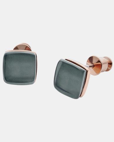 Skagen Sea Glass Steel Stud Earrings Rose Gold