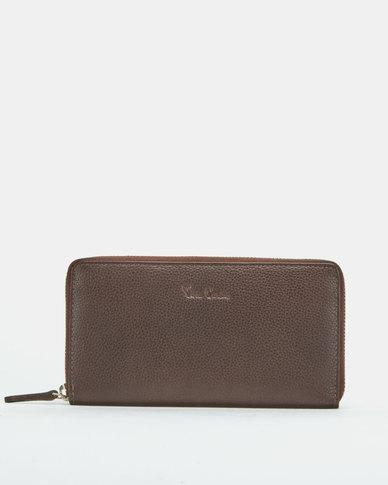 Pierre Cardin Ladies Zip Around Wallet Brown