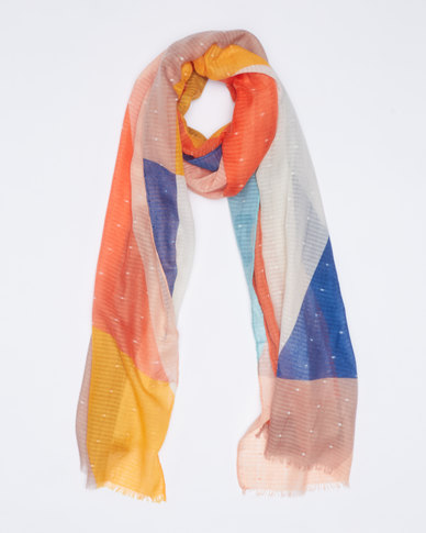 Queenspark Colourblocked Dobby Viscose Printed Scarf Coral