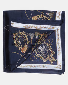 Queenspark Navy/Colour Tassel & Scroll Printed Satin Scarf