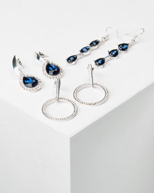 Queenspark 3Pk Glamour Drop Earrings Silver