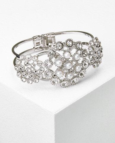 Queenspark Filigree Pearl/Diamante Bracelet Silver
