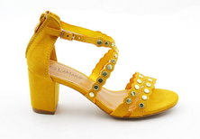 LaMara Paris anna gem embossed mustard sandals