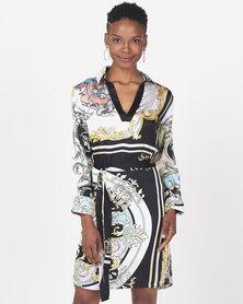 Sissy Boy Print Girl Boss Printed Shirt Dress With Placket Black