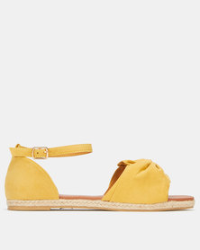 AWOL Bow Detail Espadrille Sandals Mustard