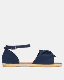 AWOL Bow Detail Espadrille Sandals Navy