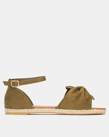 AWOL Bow Detail Espadrille Sandals Olive