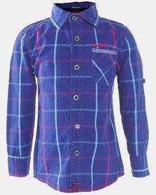 Soviet Morwell Boys Short Sleeve Shirt Dark Royal